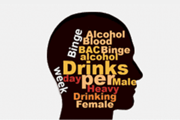 a silhouette of a head with drinking terms inside the silhouette
