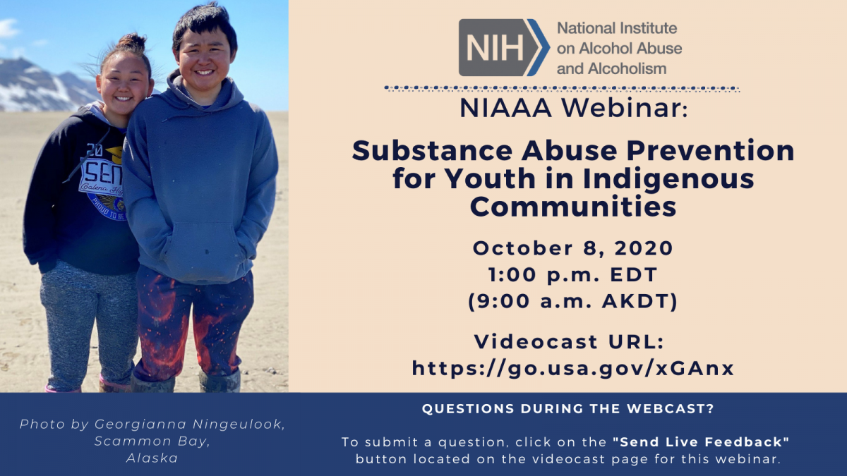 NIAAA substance abuse prevention for youth in indigenous communities webinar promotion
