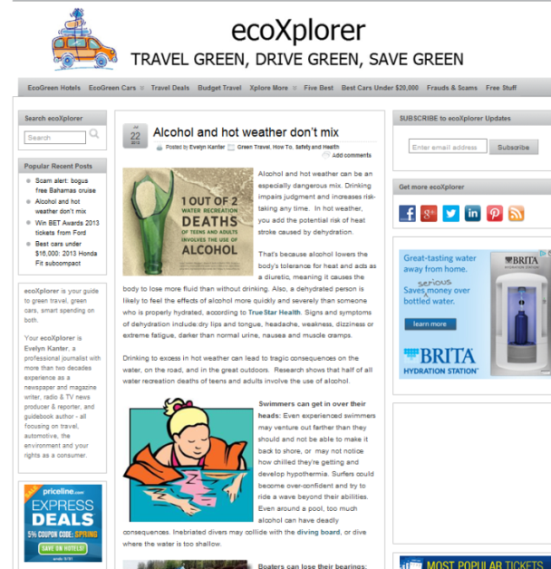 The ecoXplorer blog (7/22/13): Alcohol and Hot Weather Don't Mix