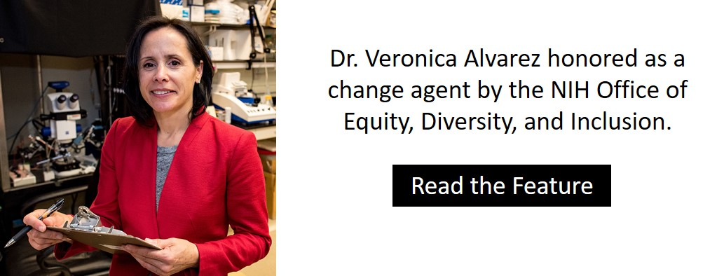 Dr. Veronica Alvarez honored as a change agent by the NIH Office of Equity, Diversity, and Inclusion.
