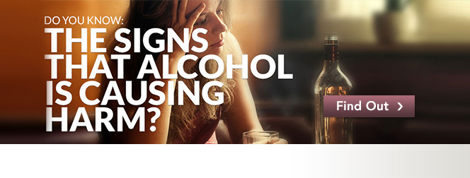 Do you know the signs of alcohol poisoning, with image of a worried woman