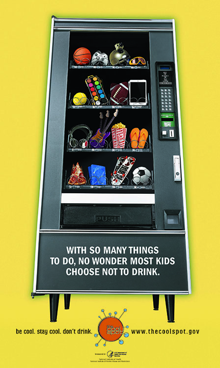 Image of vending machine with text: with so many things to do, no wonder most kids choose not to drink