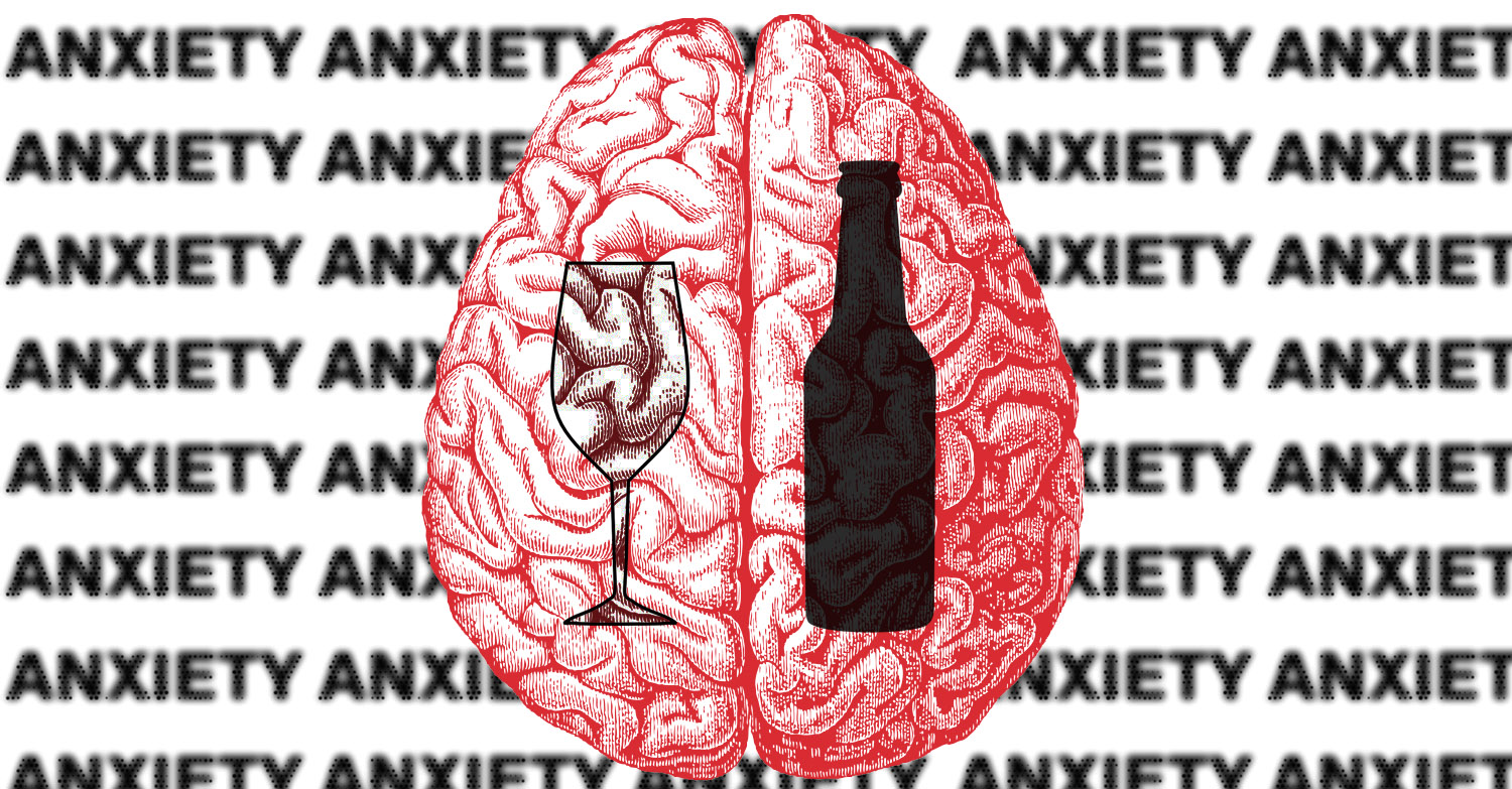Image of a brain with a wine glass and a beer bottle over it with the word anxiety in the background.