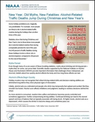 Factsheet with title New Year, Old Myths, New Fatalities, Alcohol Traffic Deaths Jump During Christmas and New Years Eve.