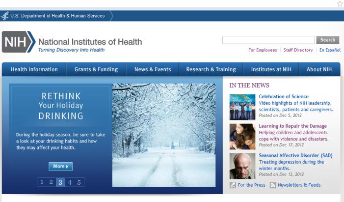 NIH Homepage: Rethink Your Holiday Drinking