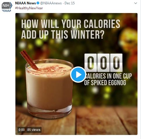 Twitter - How will your calories add up - shows shot glass of eggnog