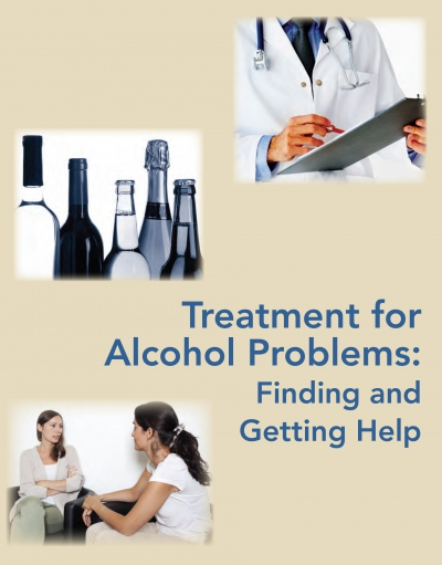 Cover of Treatment for Alcohol Problems, with a doctor, bottles & therapist