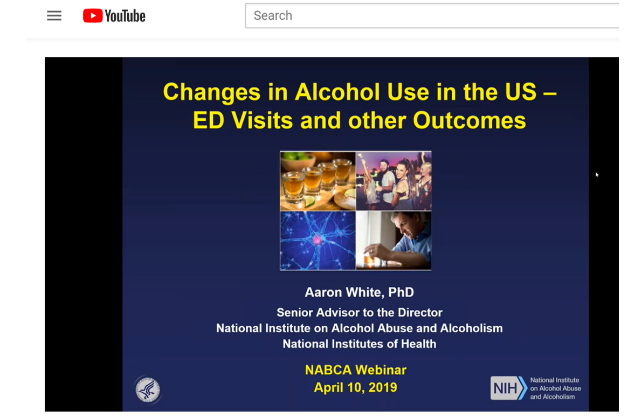 "Screenshot of ""Changes in Alcohol Use in the US – ED Visits and Other Outcomes"" webinar title screen on YouTube."