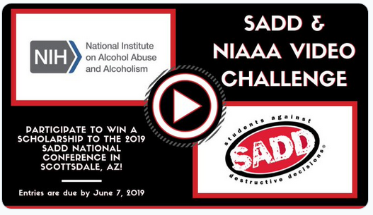 Promotional image encouraging submissions for the NIAAA-SADD video challenge.