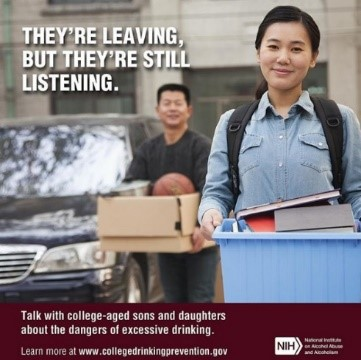 "NIH College Drinking Poster ""They're Leaving but They're Still Listening"