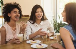 photos of three women sitting, talking and laughing over coffee and pastries