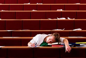 Photo of student asleep in class