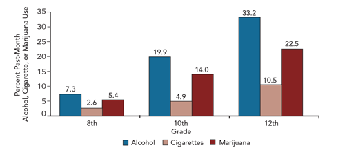 Column chart showing alcohol, cigarettes, and marijuana by percent past-month usage